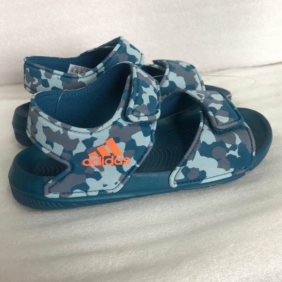 NWT Boys Adidas Alta Swim C Sandals Camo Blue Boutique